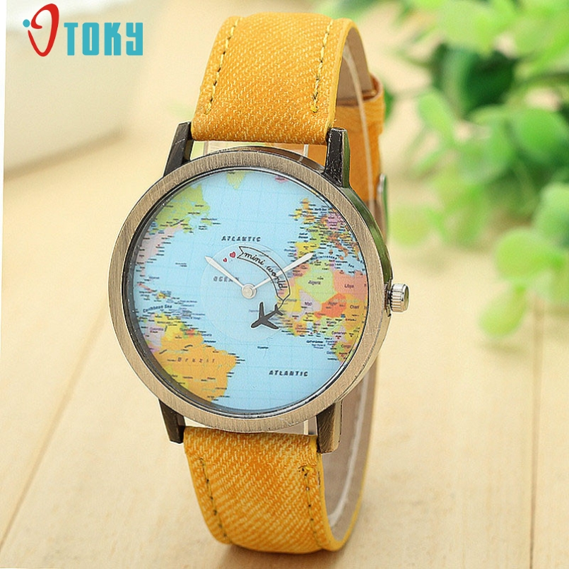 Excellent Quality Relogio Feminino Watch Fashion Ladies Luxury New Global Travel By Plane Map Watch Denim Fabric Band for Gift