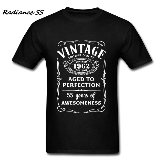 Printed T Shirts Men Summer Vintage 1962 Luxury Brand 55th Birthday Gift Short Sleeve Adult Clothing