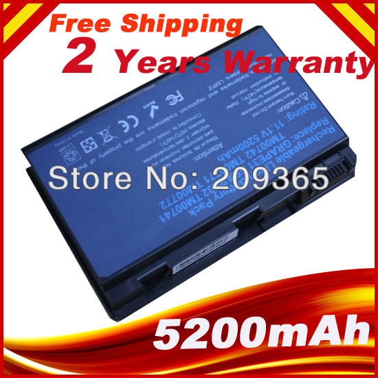 Battery For ACER Extensa 7620G 5220 5210 5230 5420G 5610 5620 5630 7220 7620 5620Z 5610G <font><b>5630G</b></font> GRAPE32 TM00741 TM00751 tm00742 image