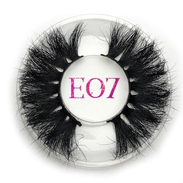 Mikiwi 25mm vison cílios postiços e07 tira grossa 25mm 3d vison cílios cruzamento maquiagem dramática longa 25mm vison cílios