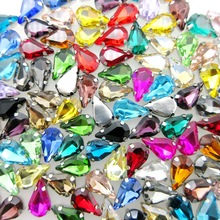 High quality glass Crystal Silver claw nice colors 6*10mm 8*13mm narrow teardrop Sew on rhinestone wedding dress bags decoration