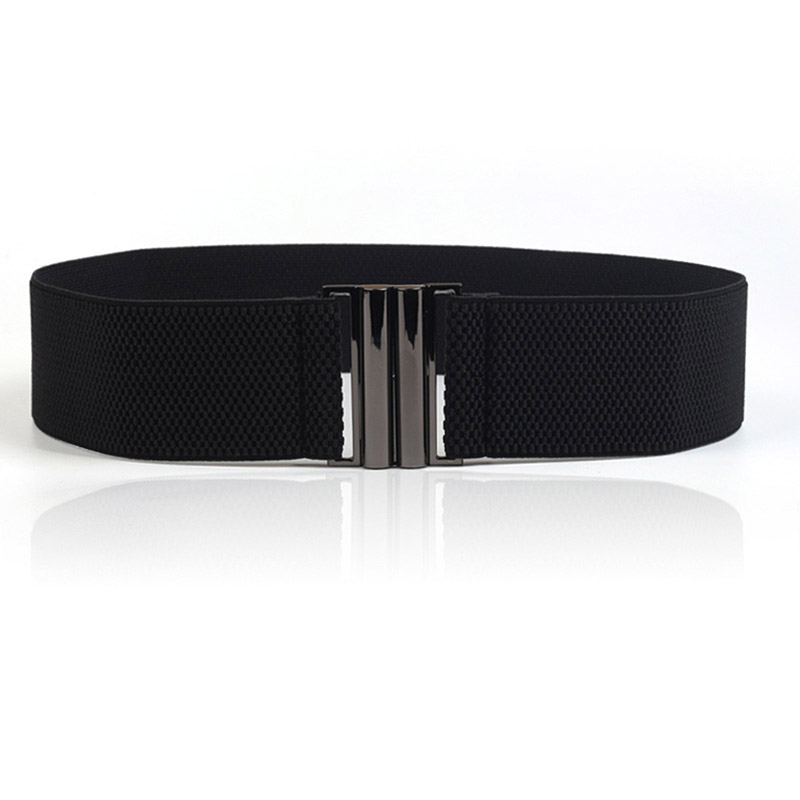 Fashion Lady's Wide Elastic Belt Leather Belt Double Metal Buckle Waistband Stretchy Women Waist Belt Female Cinturon De Mujer