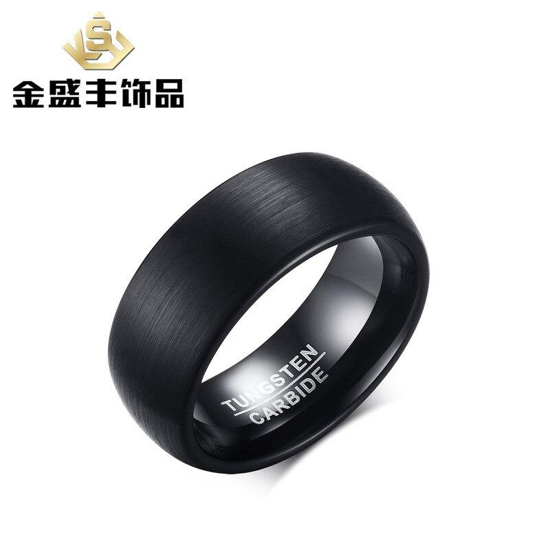 Для мужчин 8 мм волочильные вольфрамовой стали Кольцо Индивидуальные ювелирные изделия из карбида черное покрытие ювелирных изделий для му...