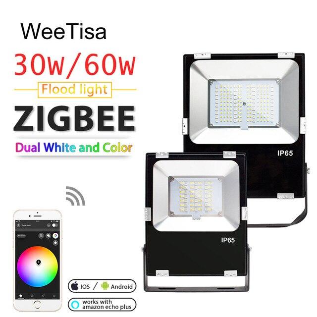 Proyector LED inteligente para exteriores luz IP65 impermeable ZIGBEE, con conexión de CA, 110V, 220V, funciona con Echo, 30W, 60W, RGBCCT, Bombilla LED para lámpara