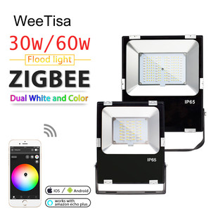 Image 1 - Smart LED Floodlight 30W 60W RGBCCT Outdoor Light IP65 Waterproof ZIGBEE Light Link AC 110V 220V LED Bulb Lamp Work with Echo