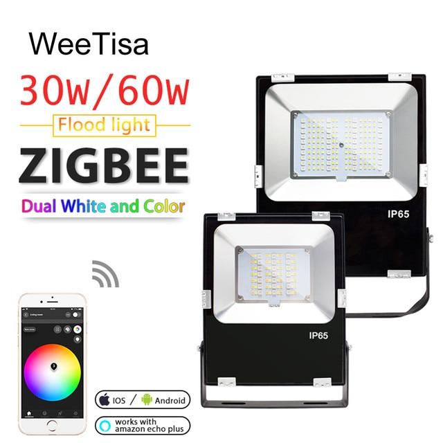 Smart LED Floodlight 30W 60W RGBCCT Outdoor Light IP65 Waterproof ZIGBEE Light Link AC 110V 220V LED Bulb Lamp Work with Echo