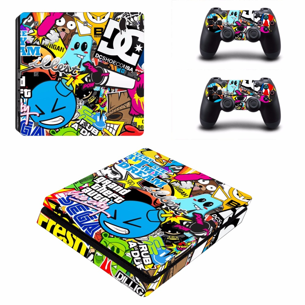 Bombing Design Decal Cover for PS4 Slim Skin Sticker For Sony Play Station 4 Slim Console and 2 Controller Protective Stickers