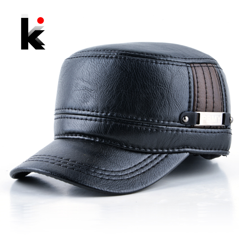 2018 Winter mens leather cap warm hat baseball cap with ear flaps russia flat top caps for men casquette