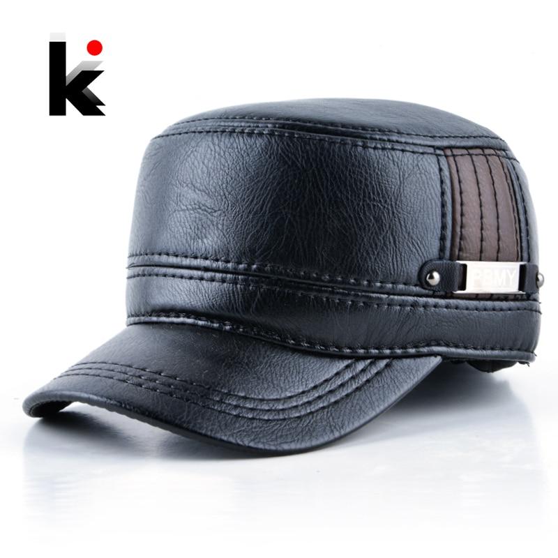 2018 invierno hombre cuero sombrero caliente gorra de béisbol con orejeras  Rusia tapas superiores planas para hombres casquette - Blog Store e08d64220d1