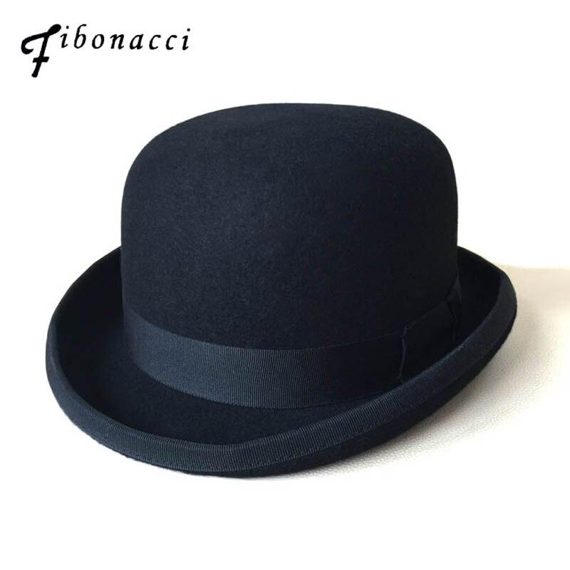 3bb066d9b00 Black Steampunk Victorian Formal Dome Hat Wool Felt Vintage Magician Fedoras  Mad Hatter President Bowler Hat