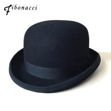 Sombrero negro Steampunk victoriano Formal de la cúpula de lana de fieltro  Vintage mago Fedora Mad Hatter Presidente Bowler somb. 12426055dc9