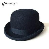 Black Steampunk Victorian Formal Dome Hat Wool Felt Vintage Magician Fedoras Mad Hatter President Bowler Hat