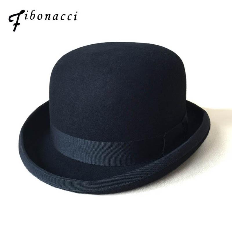 Fibonacci Hat Black Steampunk Victorian Formal Dome Hat Wool Felt Vintage Magician Fedoras Mad Hatter President Bowler Hat