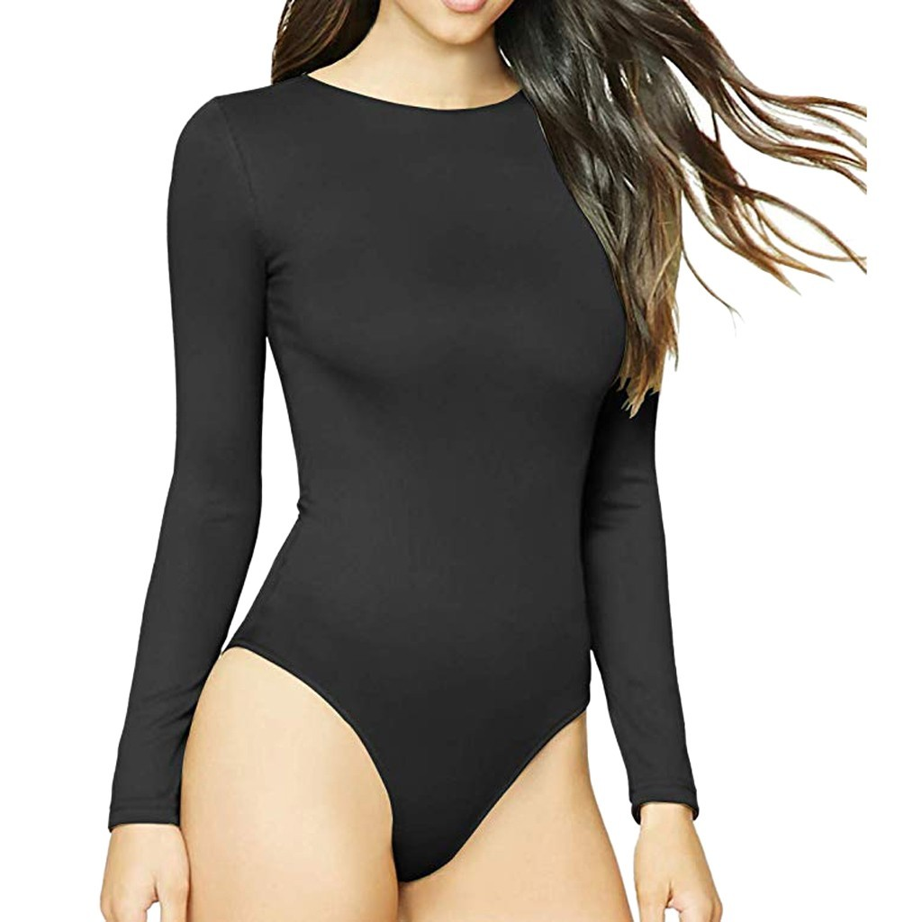 sexy black Bodysuit Women's Round Collar Long Sleeve Elastic   Jumpsuit   body mujer Rompers Beach Bodysuit Overalls For Ladies