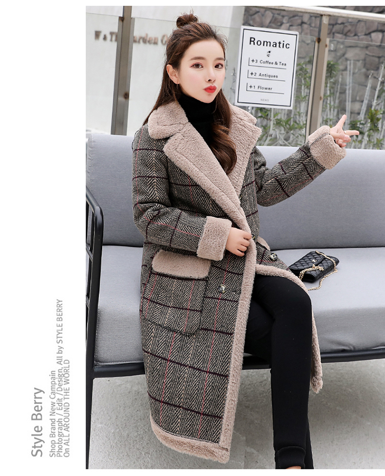 Lamb fur-padded 2018 winter women's new loose-fitting mid-length padded check wool coat, cotton-padded jacket 6