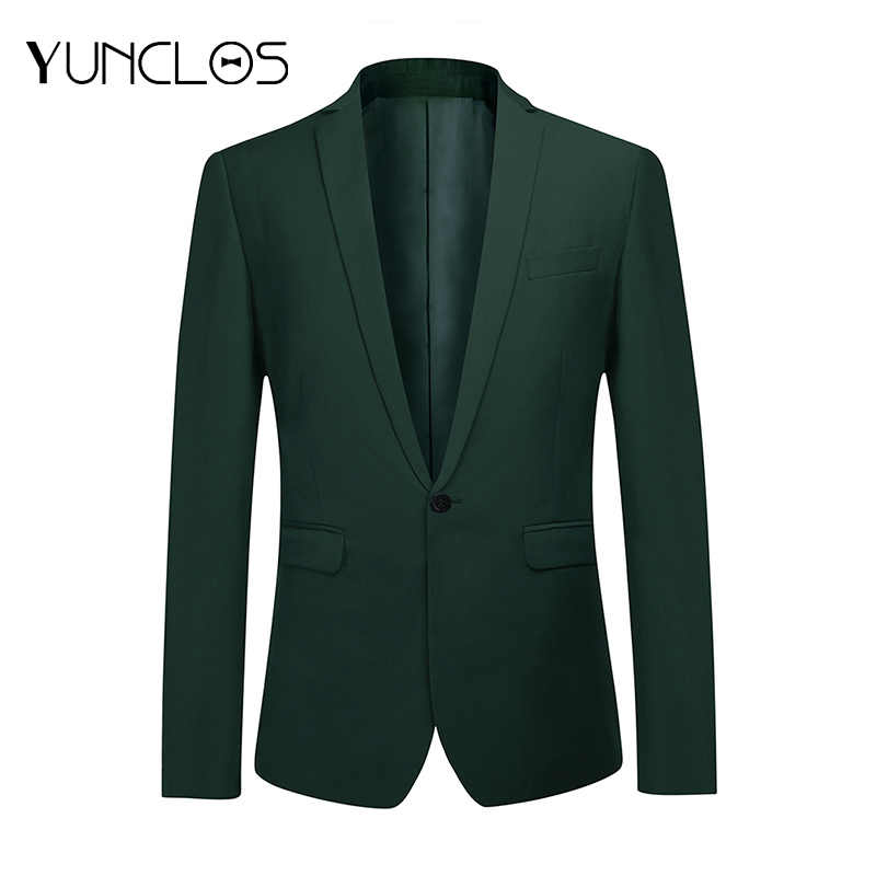 Yunclos Business Mannen Pak Jacket Wedding Party Jurk Blazer En Broek Slim Fit Green Blazers Mannelijke Pak Blazers Jassen
