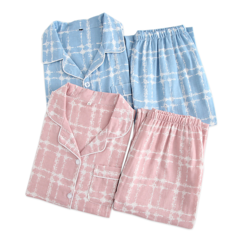 Couples Pajamas Sets Women Gauze Cotton Summer Striated Simple Pijamas Women Indoor Homewear Pijamas Mujer