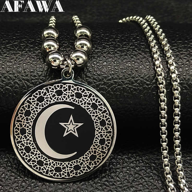 2019 Bead Long Stainless Steel Statement Necklace for Women Muslim Islam Moon Star Black Necklaces Jewelry collier femme N1855