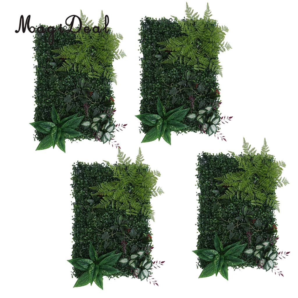 4 Pieces Artificial Hedge Outdoor Artificial Plants Fern Leaves Grass Home Garden Yard Fence Wedding Venue