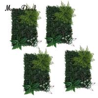 4 Pieces Artificial Hedge Outdoor Artificial Plants Fern Leaves Grass Home Garden Yard Fence Wedding Venue Greenery Wall Panels