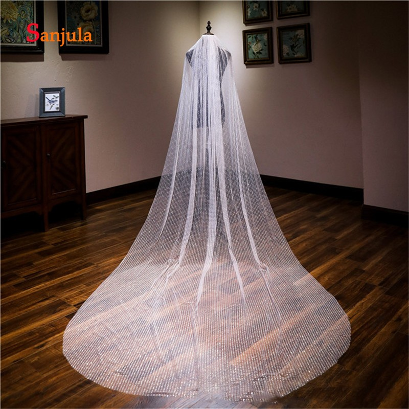 One Layer Bridal Veil with Comb Shiny Sequins 3 Meters Wedding Veils Fashinoable Cathedral Veil Cut Edge V29