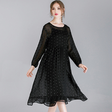 Plus size Womens loose fashion Chiffon dresses casual high waist crew neck long sleeve Elegant dress two piece Large ladies