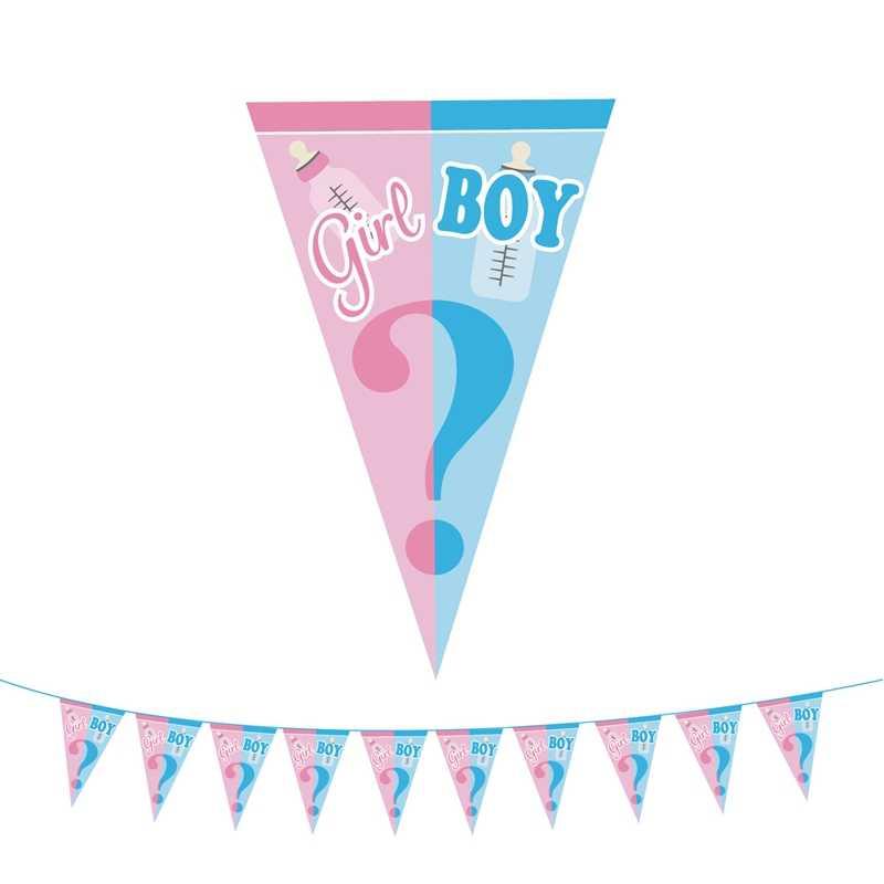 性別明らかパーティーの装飾少年や少女バナー使い捨て食器ベビーシャワーラテックス紙吹雪風船写真プロップ用品 8