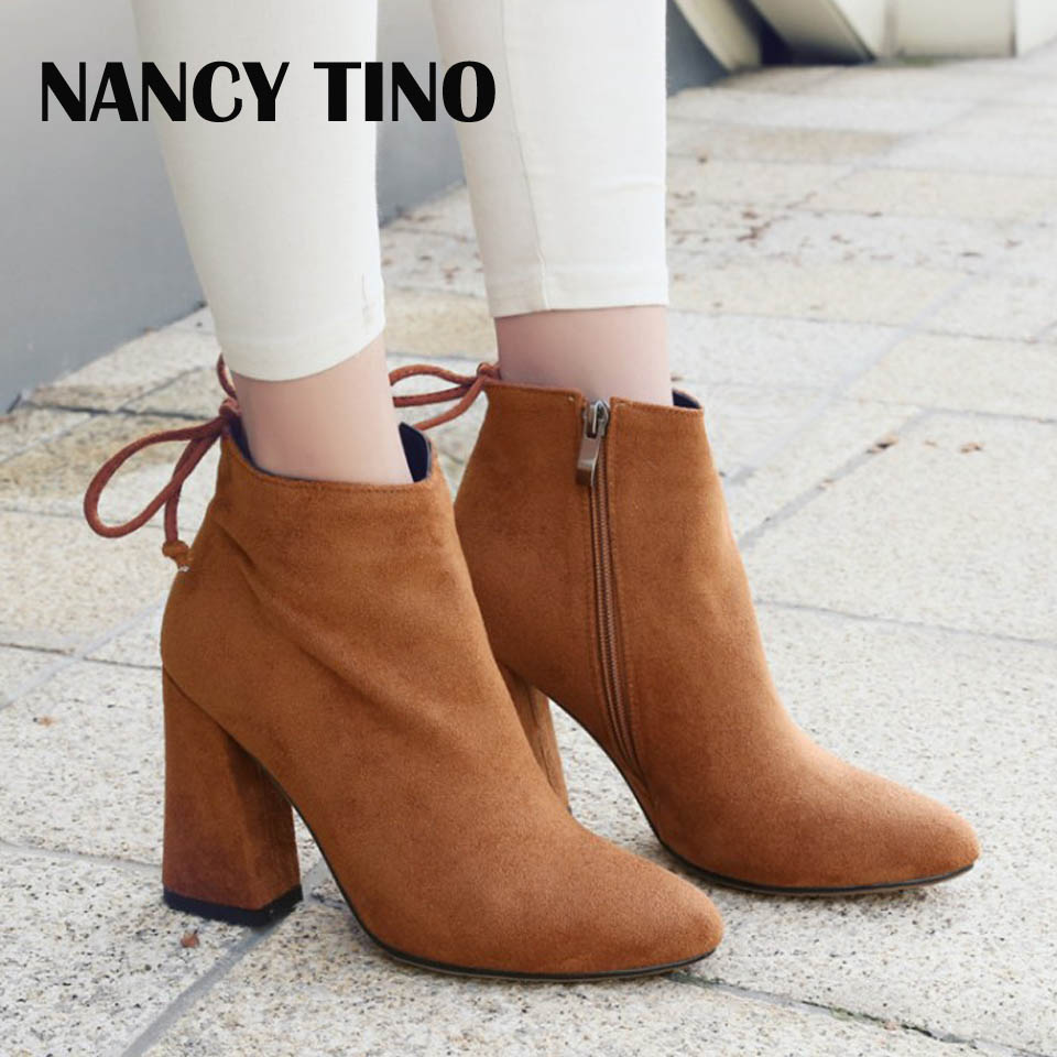 NANCY TINO Fashion Women Flock Ankle Boots Round Toe High-Heel Winter Women Boots Ladies Party Stretch Fabric Boots