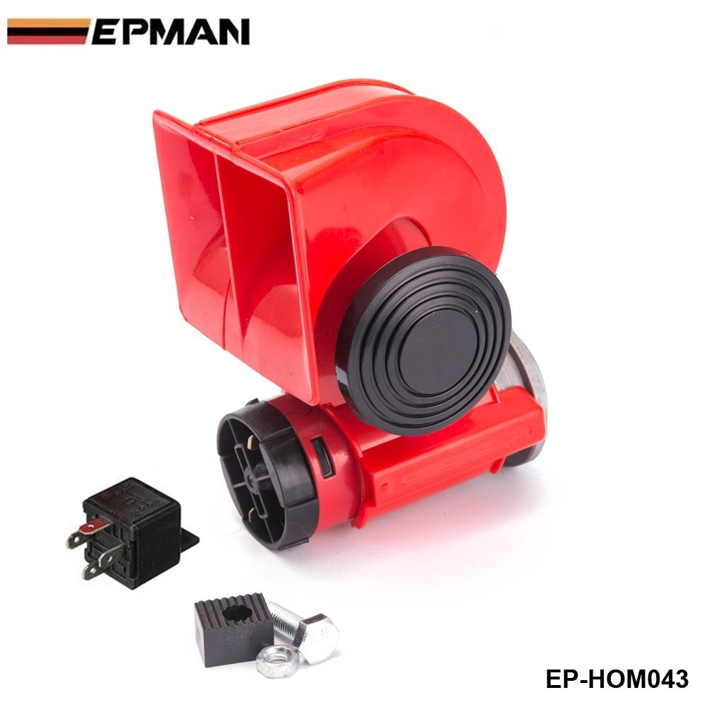 Car Motorcycle Truck 12V Red Compact Dual Tone Electric Pump Air Loud Horn Vehicle Siren For BMW 520i f10 EP-HOM043 12v dual tone trumpet super loud electric pump air horn for car truck train