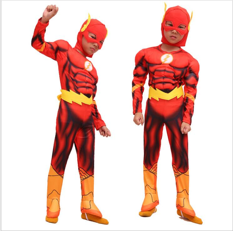 The Flash Muscle Kids DC Comic Superhero Costume Clothing Child Boy Cosplay Suit