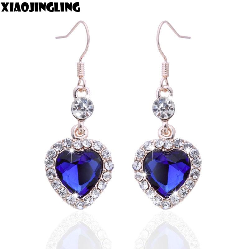 """2015 Classic Crystal Alloy Love """"Titanic""""  Blue Heart of Ocean Drop Earrings for Women"""