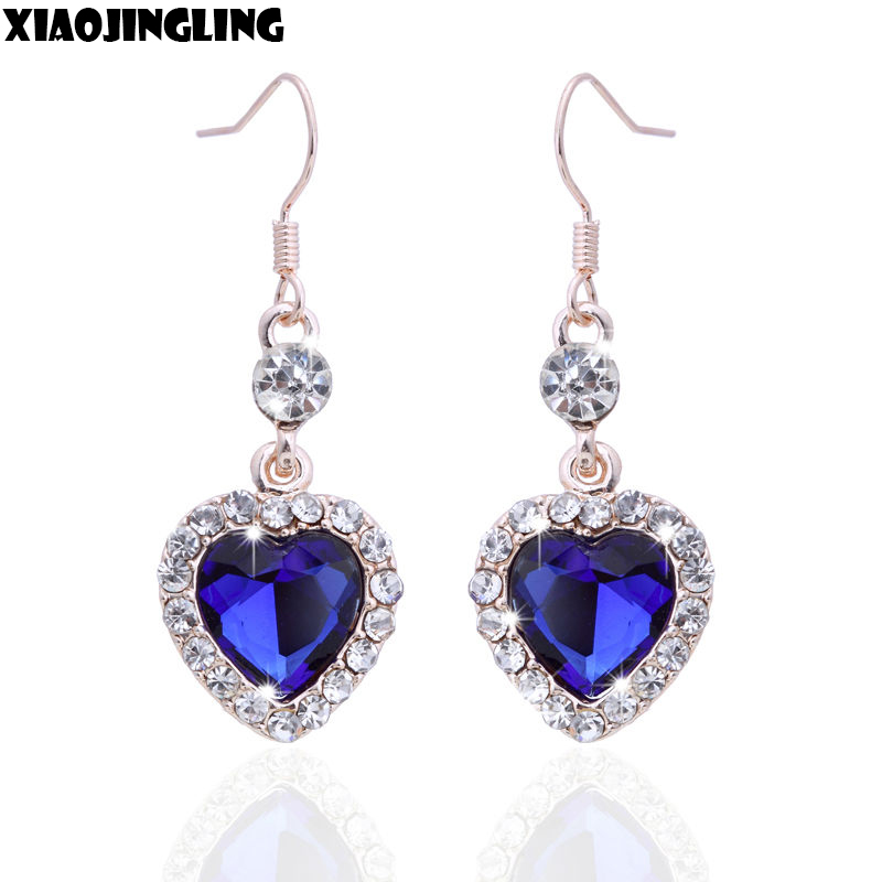 XIAOJINGLING Classic Crystal Alloy Love Blue Rhinestone Heart of Ocean Drop Earrings Dangle for Women Girl Fashion Jewelry Gifts