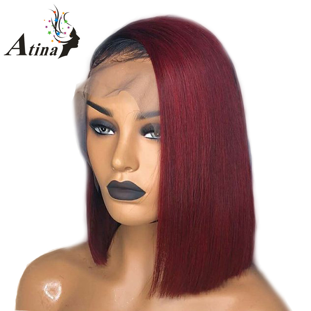 T1B Burgundy 1b 99j Ombre Hair Wig Bob Wigs Lace Front Human Hair Wigs Straight Short