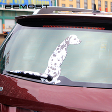BEMOST 2 styles Hot Sales Cartoon Spotted Dog Moving Tail Decal Animal Sticker Reflective Car Window Wiper Auto Accessorie