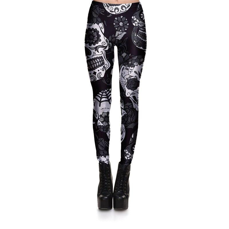 9b02acdcc57f6e Hot Sell Skull Leggings Women's Skull&flower Black Leggings Digital Print  Trousers 7 color skull Woman Stretch
