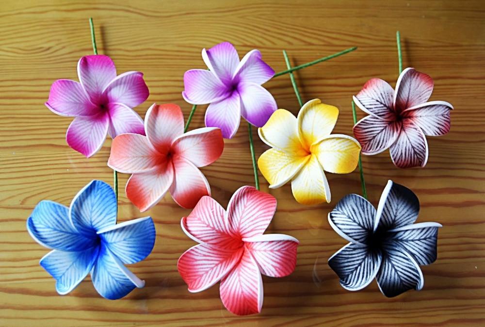 Free Shipping F0078 144pcs/ Lot  8CM 8 Colors Foam Plumeria Hair Pick  Women Wear Hair Accessories Hawaii Tropical Flower
