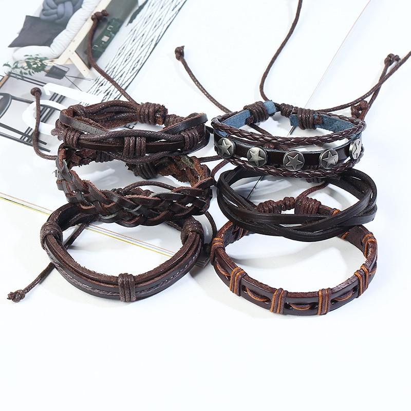6Pcs/set Handmade Brown Genuine Leather Wrap Men Bracelets Adjustable Star Charms Braided Rope Bracelets & Bangles Male Gift