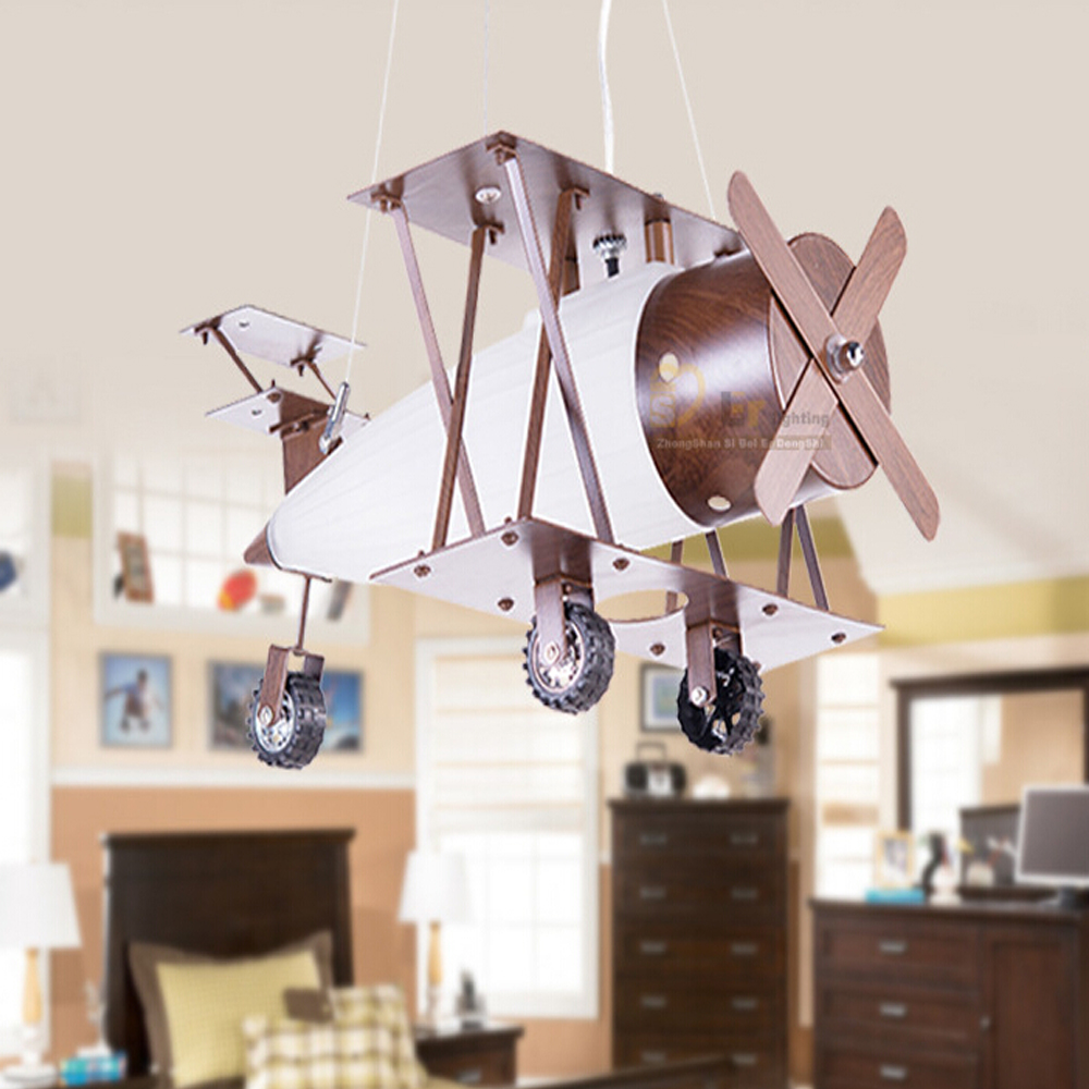 Modern Minimalist Antique Iron Wood Fashion Led pendant lights Lamps Children 's Room Aircraft vintage lamp Bedroom Eye hghomeart children room aircraft led pendant lights antique pendant light boy bedroom eye lamp study led creative ceiling lamps
