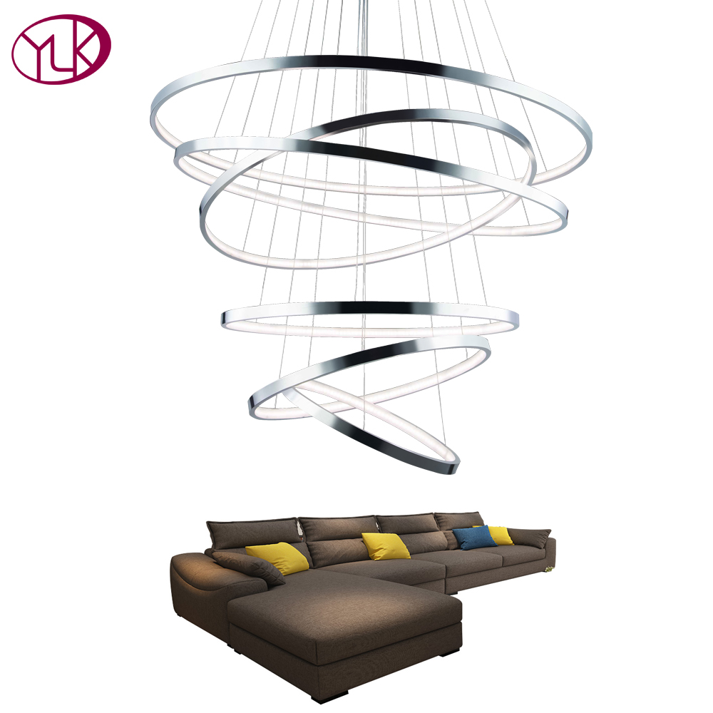 Youlaike Modern Foyer LED Chandelier Lighting For Living Room 6 Rings Chrome Acrylic Hanging Lamp Luxury Staircase LightingYoulaike Modern Foyer LED Chandelier Lighting For Living Room 6 Rings Chrome Acrylic Hanging Lamp Luxury Staircase Lighting