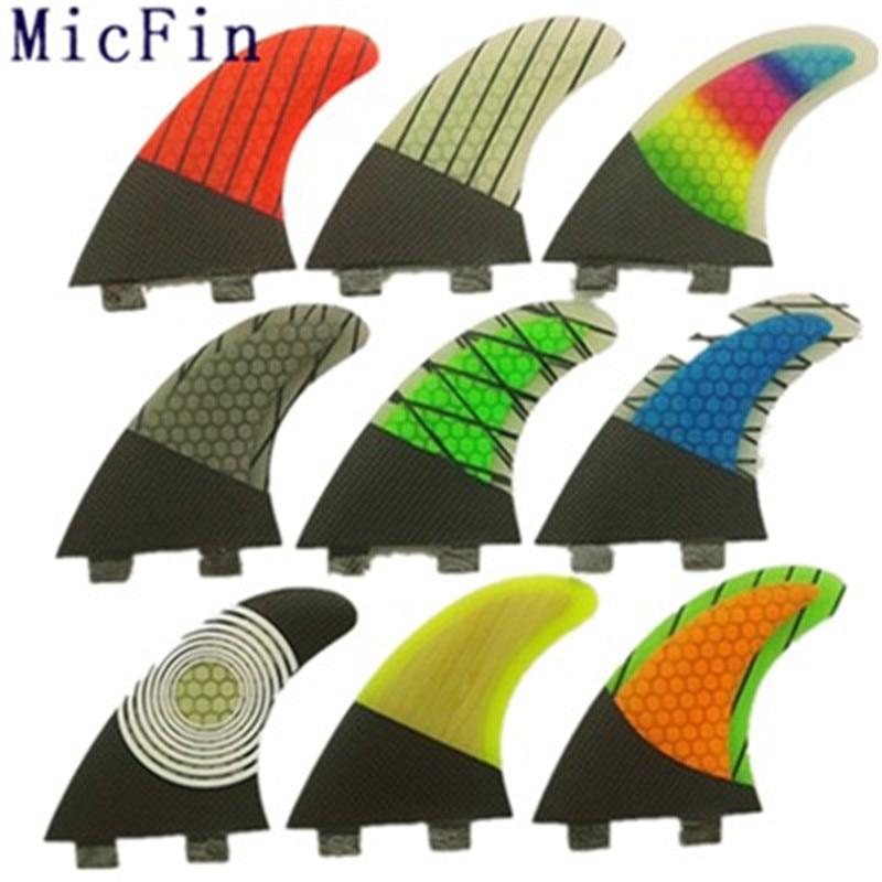 цена на Micfin FCS G5 Fin Surf fiberglass Honeycomb carbon Fins Quilhas 3pcs/set Medium size pranchas de surf fcs surfing fins