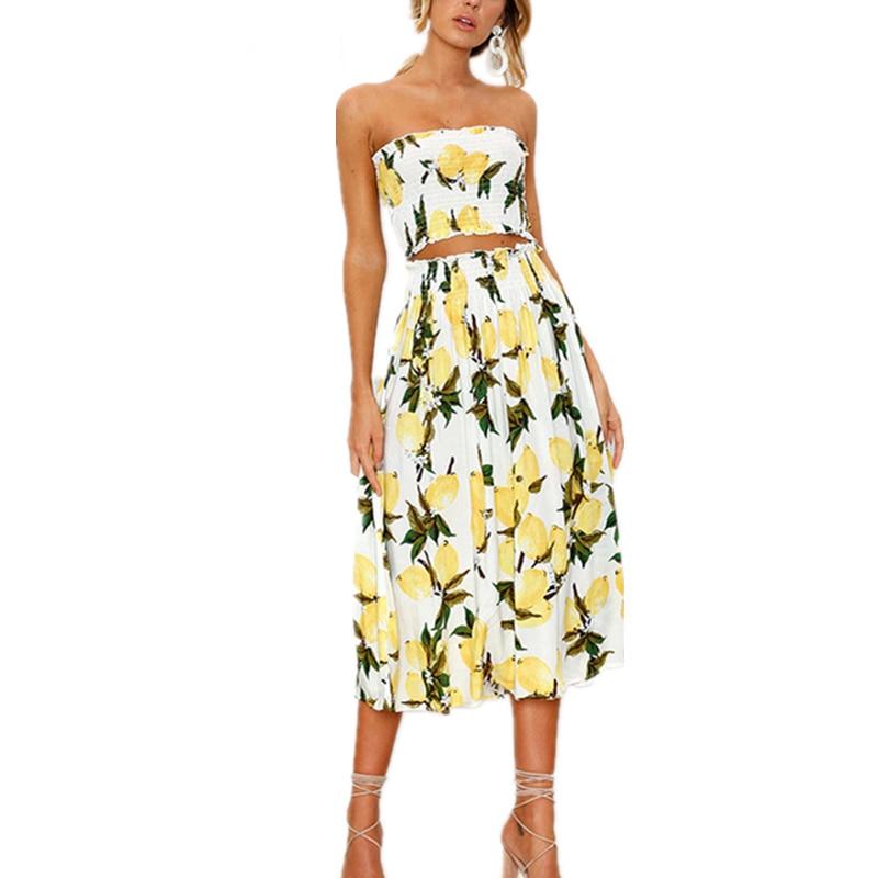 97412a228e36 2 piezas conjunto playa verano Vestido Mujer vestido largo Sexy sin tirantes  Boho girasol limón estampado vestido femenino 2018 ropa de moda