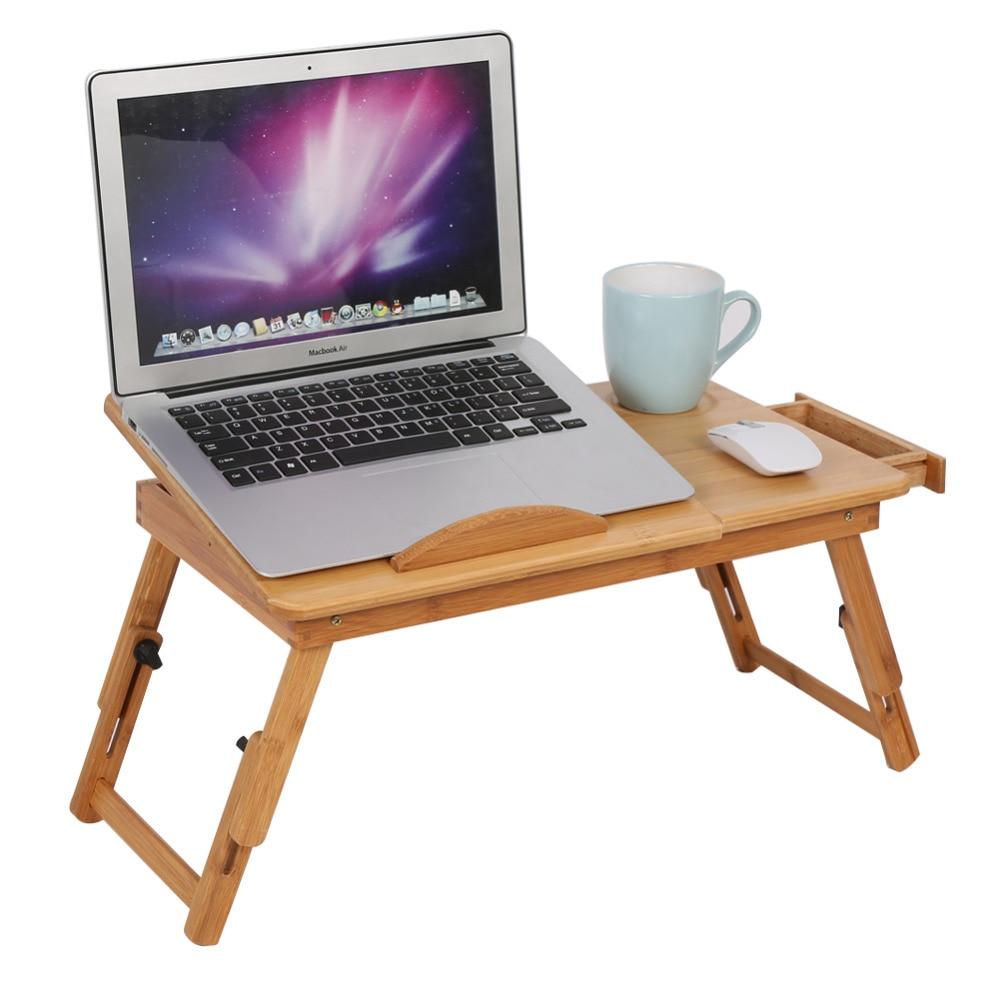 Adjustable Computer Desk Portable Bamboo Laptop Folding