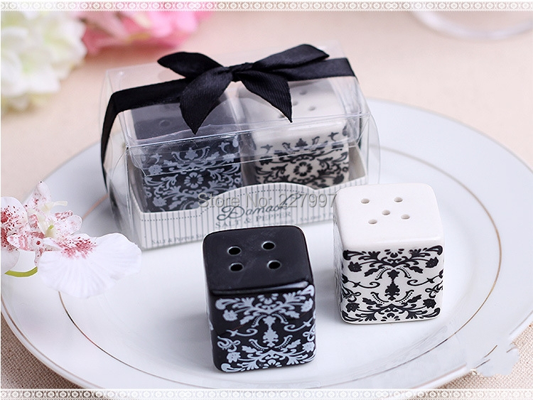 120pairslot 240pcs wedding gifts for guest souvenirs damask ceramic salt and pepper