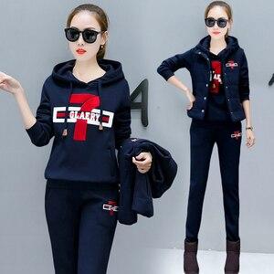 Image 3 - Plus rozmiar dres dla kobiet 2 sztuka zestawy 2020 pant garnitury i top bluzy stroje 3 sztuk sportsuits wysokiej jakości czarne ubranie