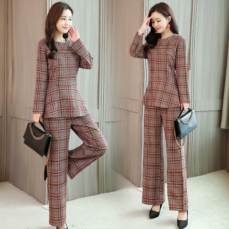 Plaid Two 2 Piece Sets Suits Women Long Sleeve Tunic Tops And Wide Leg Pants Sets Office Elegant Spring Autumn Women's Sets 2019 32