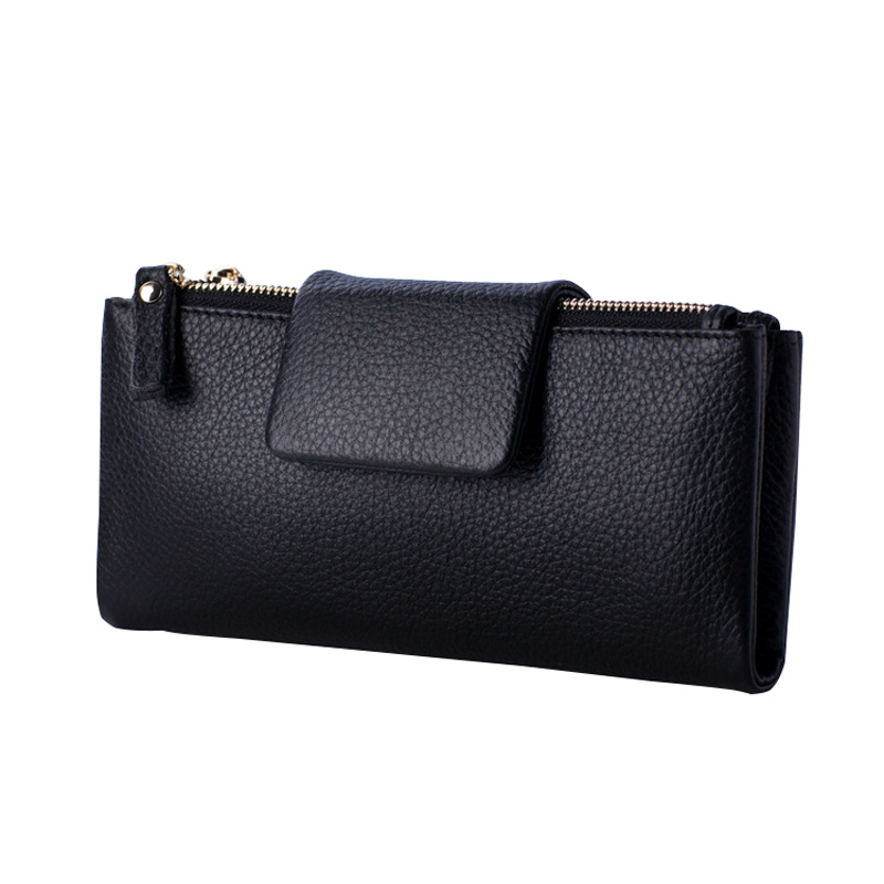 Fashion Genuine Leather Litchi Pattern Women Wallet Hasp And Double Zipper Design Card Holder Purse With Phone Pocket guapabien casual bear pattern hasp design large storage wallet for women
