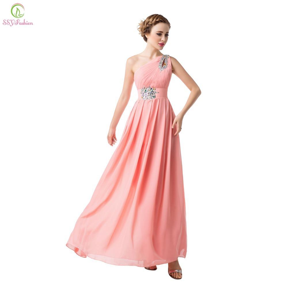 SSYFashion Chiffon One Shoulder Crystal Beading Evening Dress Plus Size Formal Prom Dress The Bride Married Dress Custom