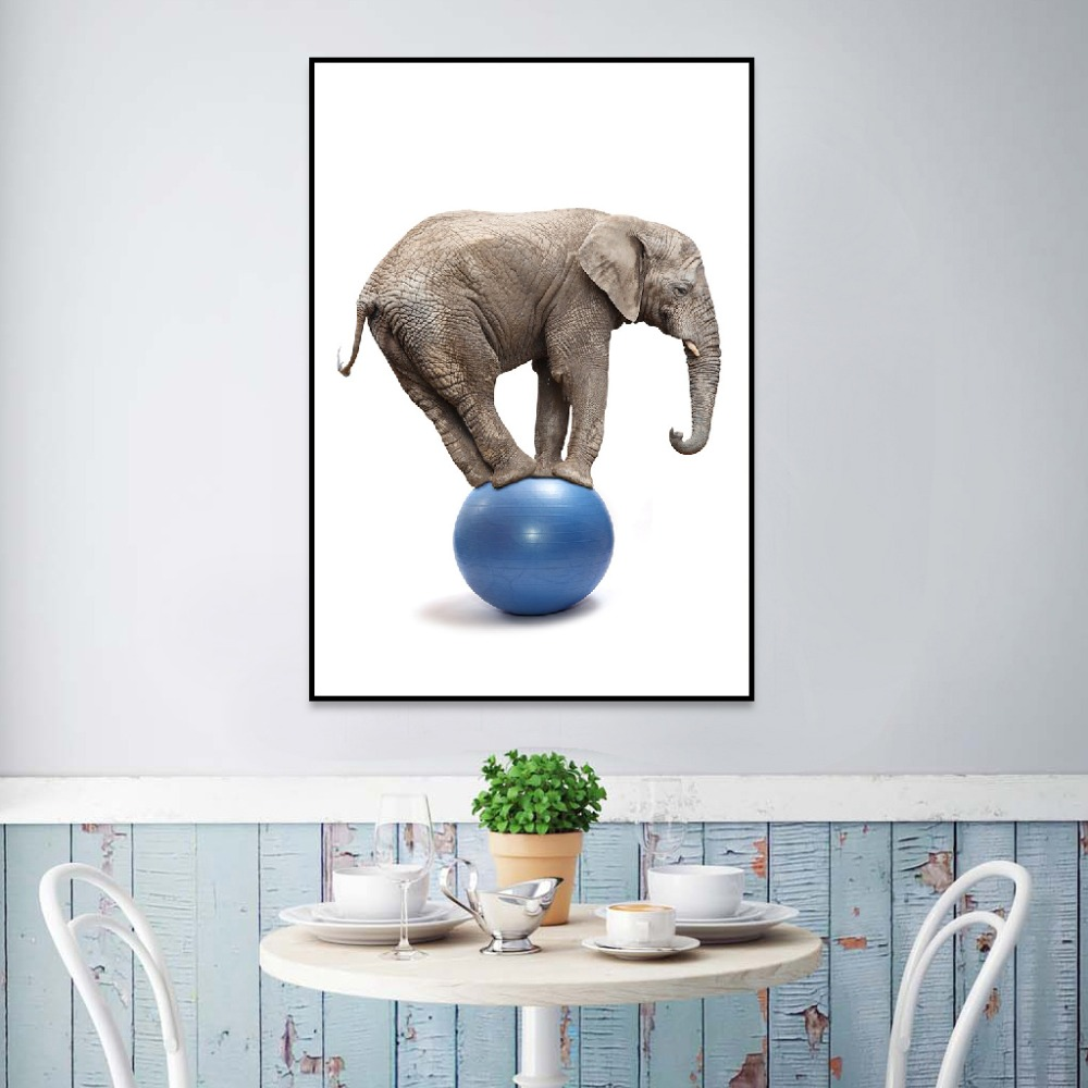 Nordic Porch Decoration Painting Elephant Foot Step on the Blue Balloon Riding Canvas Art Poster Print Decorative Home Decor african elephant