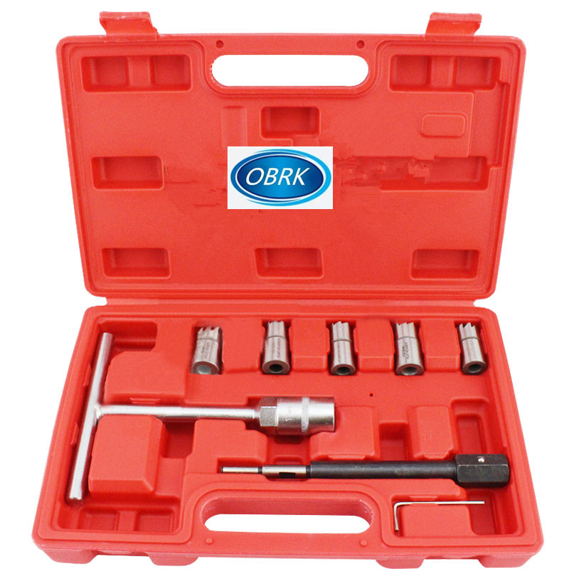 7 pcs Diesel Injector Seat Cutter Set Cleaner Carbone Remover Voiture Garage Outil Kit
