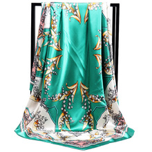 New Arrival Fashion Women soft satin brand scarf / Lily of the valley Printed quare silk scarves 90cm Gifts Wholesale